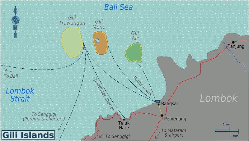 Gili Islands Region Map
