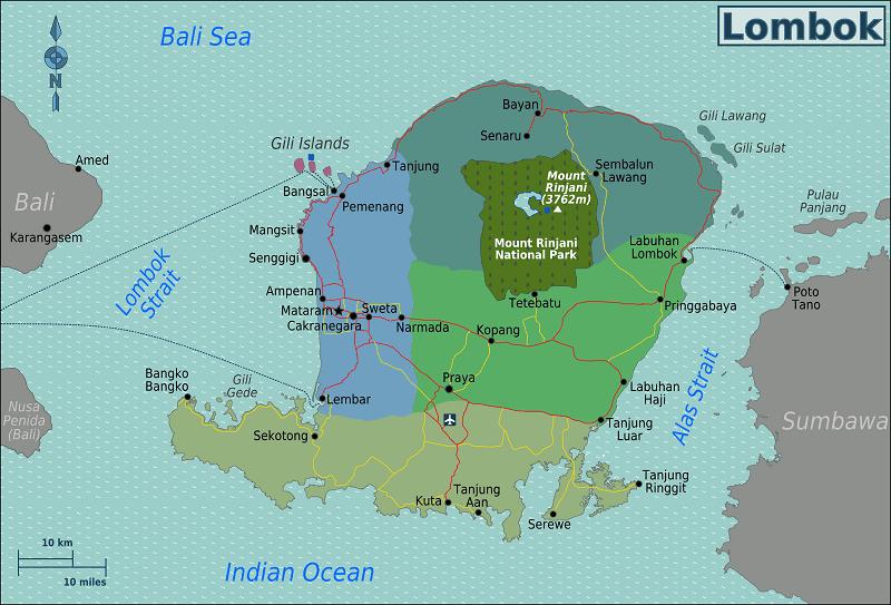 Lombok Regions Map