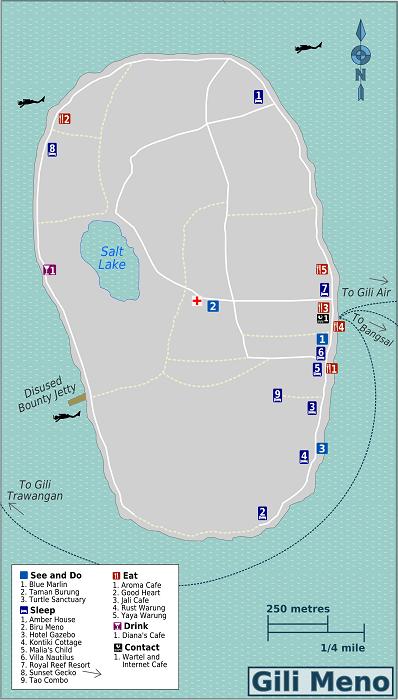 Gili Meno Map