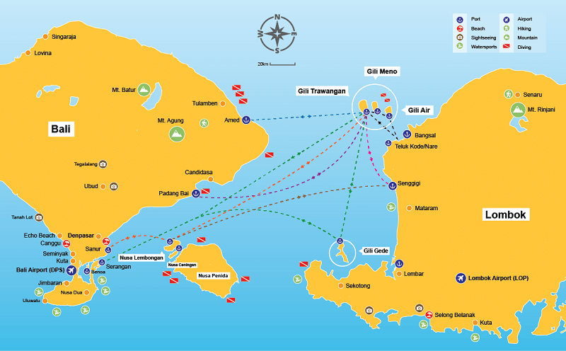 How to reach gili from bali