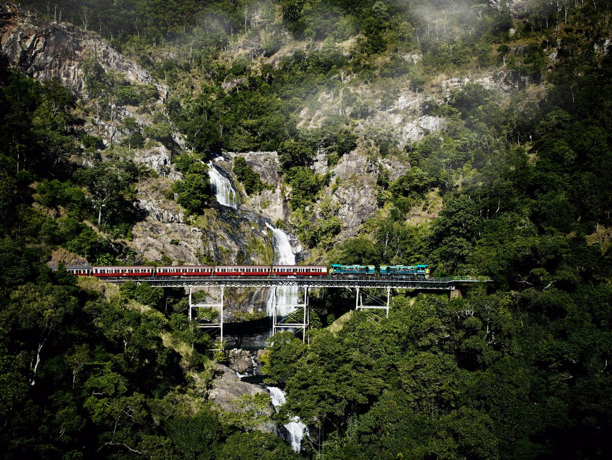 train passing over a bridge at Kuranda, Australia