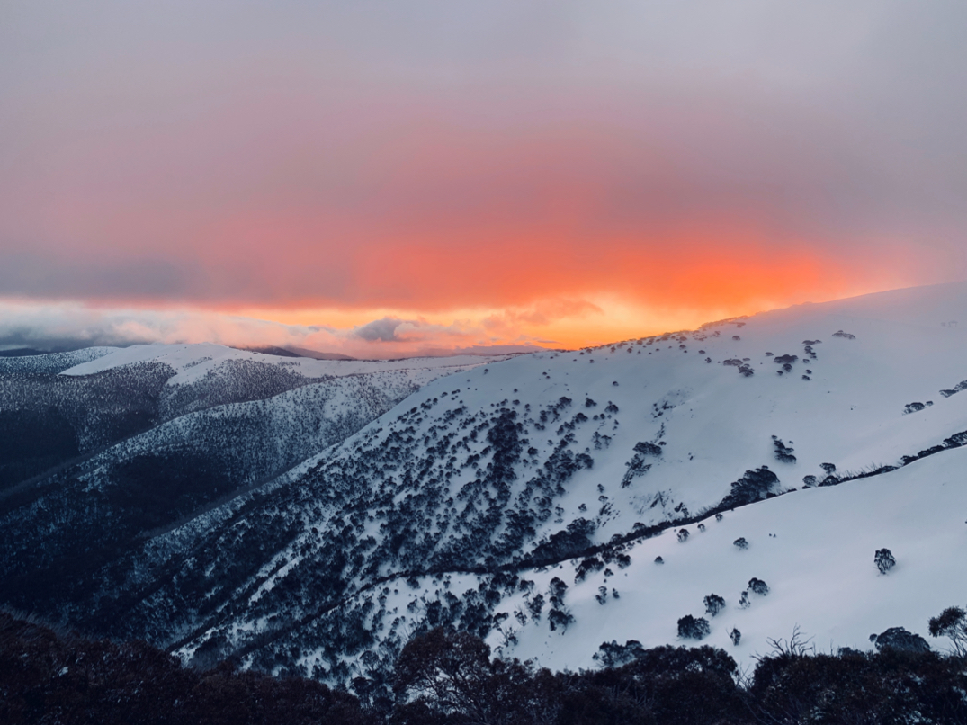 Snow capped mountains at Hotham Heights, Australia