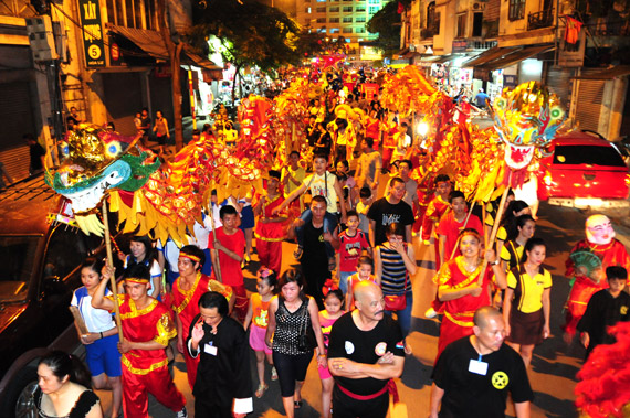People celebrating Tết Trung Thu in Vietnam